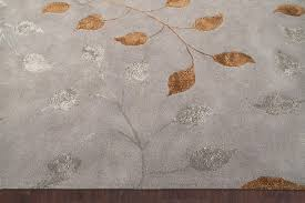 rugsville leaf contemporary gray silk  wool rug   rugsville