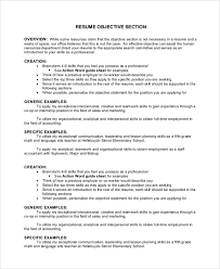 Objective Sample For Resumes Sample Objective 40 Examples In Pdf Word