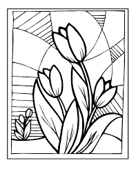 Painting Flowers Tulip In Spring Coloring Picture For Kids Spring