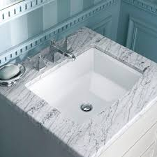 archer undermount bathroom sink in white by kohler sinks plus marble countertop and cool faucet for