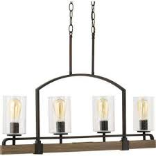 newbury manor collection 4 light vintage bronze linear chandelier with clear seeded glass shades