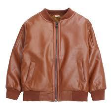 boys coats autumn winter pu leather jacket children s plus warming brown 130