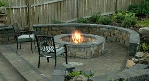 excellent family backyard fireplace plans with custom outdoor firepit and pair of outdoor cushioned chairs and
