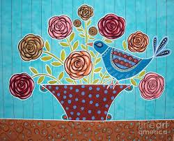 folk art print folk bird and flowers painting karla gerard folk art prints ta