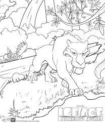 Ice Age Collision Course Coloring Pages Diego In Jungle Get