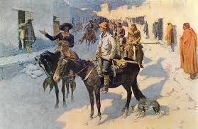 old west town painting zebulon pike entering santa fe by frederic remington