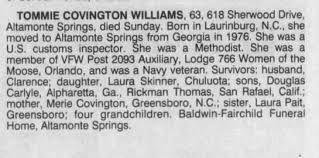 Obituary for TOMMIE COVINGTON WILLIAMS (Aged 63) - Newspapers.com