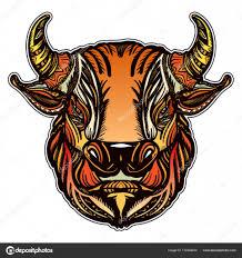 бык головой цвета татуировки и футболку дизайн сильный бык символ