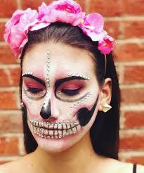 beautiful skeleton makeup with flower hairband