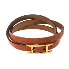 hermes hapi 3 orange leather gold plated wrap bracelet s nextprev prevnext