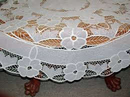 crystal lace tablecloths round and oblong interesting combination of cotton battenburg lace and polyester