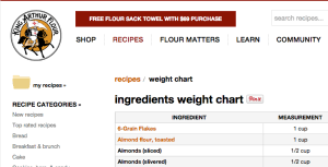 Ingredient Weight Chart Bookmark This King Arthur Flour Baking Conversion Chart