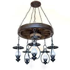 old colorado wagon wheel 5 light lantern chandelier