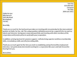 Thank You Letter After Interview Hr Generalist Vancitysounds Com