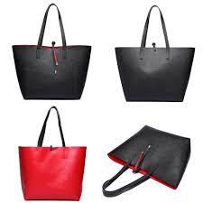miss lulu reversible faux leather handbag pouch