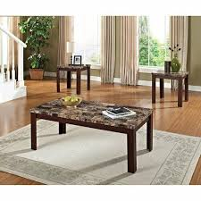 3pc faux marble top table set dark oak