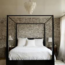 rustic elegant bedroom designs. Elegant Bedroom Design With Canopy Bed Frame And Exposed Brick Walls In Rustic Style Designs H