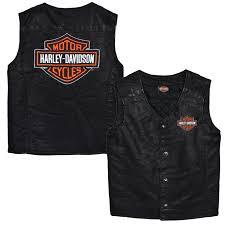 harley davidson boys bar shield black faux leather biker vest
