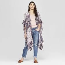 Petitewomens Printed Short Sleeve Open Front Kimono Jacket