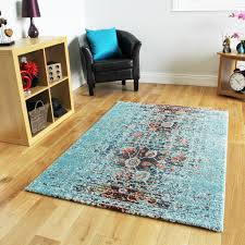 New Small Large Art Deco Blue Rugs Funky Soft Easy Clean Living Room Modern  Rug