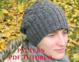 Mens Beanie Knitting Pattern Fascinating Mans Knit Hat Etsy