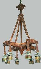 full image for mission style chandelier lighting chandelier carved wood craftsman arts crafts stained glass shades