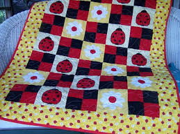 102 best Ladybug quilts images on Pinterest | Crafts, Decorations ... & Gorgeous yellow handmade ladybug quilt. Adamdwight.com
