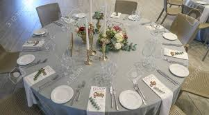 Reception Table Set Up Circle Silver And White Themed Wedding Reception Banquet Table