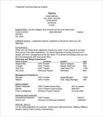 Resume Outline Example Fascinating Resume Outline Template 28 Free Sample Example Format Download