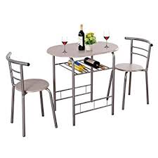 giantex 3 piece dining set pact 2 chairs and table set with metal frame and shelf