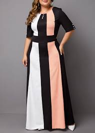 Modlily Size Chart Plus Size Color Block Half Sleeve Maxi Dress Modlily Com Usd 29 66