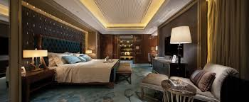 Opulent Blue And Brown Bedroom Panorama