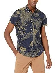 J Crew Mercantile Mens Slim Fit Short Sleeve Stretch Tropical Printed Shirt