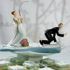 Catch Of The Day Fishing Bride Catches Groom Wedding Cake Topper