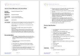 Project Manager Job Description Senior Project Manager Job Description Free To Download