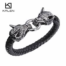 kalen new punk stainless steel double wolf head biker bracelets high quality gothic leather animal men
