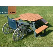 picture of ada wheelchair accessible round recycled plastic picnic table 170 lbs