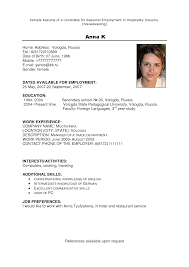 Housekeeping Hotel Resume Resume For Your Job Application