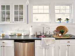 Large Tile Kitchen Backsplash Good White Subway Tile Backsplash On Kitchen With Decoration In