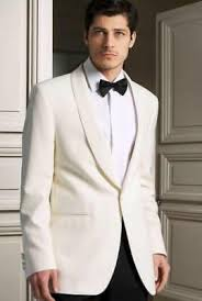 <b>2018 White Groom Tuxedos</b> Men Wedding Suits Lapel Jacket One ...