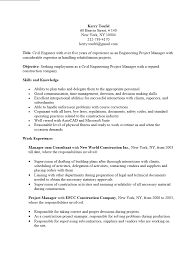 Free Engineering Project Manager Resume Template Sample Ms Word