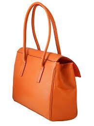 tara orange leather handbag1 jpg