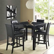 graceful black bar height dining set 24 table counter chairs modern style of room with finished square glass for lamp on the center and