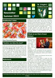 News Letters Newsletters St Crispins Excellence For Allst Crispins