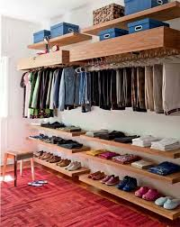 I like this one the most because the clothing is blocked by the shelves on  top Idea/inspiration for converting closed bedroom closets - Open Closet