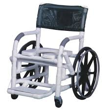 22 self propelled aquatic rehab shower chair w 24 rear wheels open front soft seat