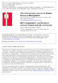 Work Engagement Psychological Contract Breach And Job