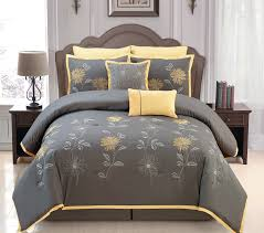 gray and yellow bedding. Interesting Yellow Amazoncom Sunshine Yellow  Grey Comforter Set Embroidery Bed In A Bag  King Size Bedding Home U0026 Kitchen On Gray And Bedding