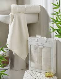 Комплект <b>бамбуковых полотенец KARNA PANDORA</b> Кремовый ...