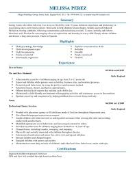 CV Template for Nanny